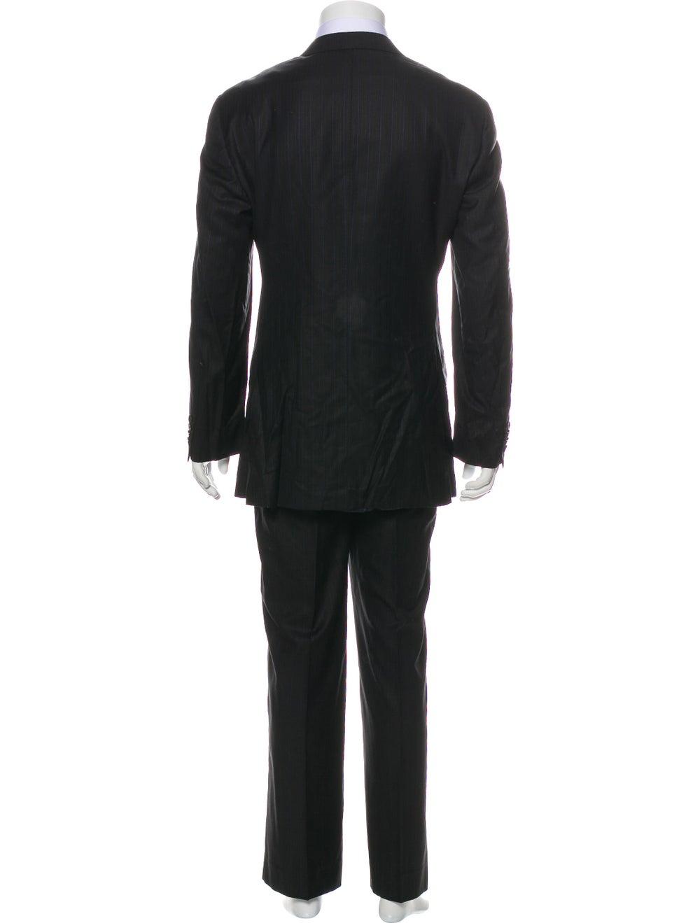 Ermenegildo Zegna Silk Striped Two-Piece Suit Bla… - image 3