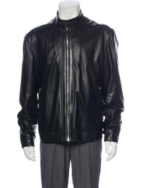 Ermenegildo Zegna Leather Moto Jacket Black