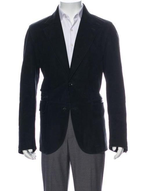 Ermenegildo Zegna Leather Blazer Black