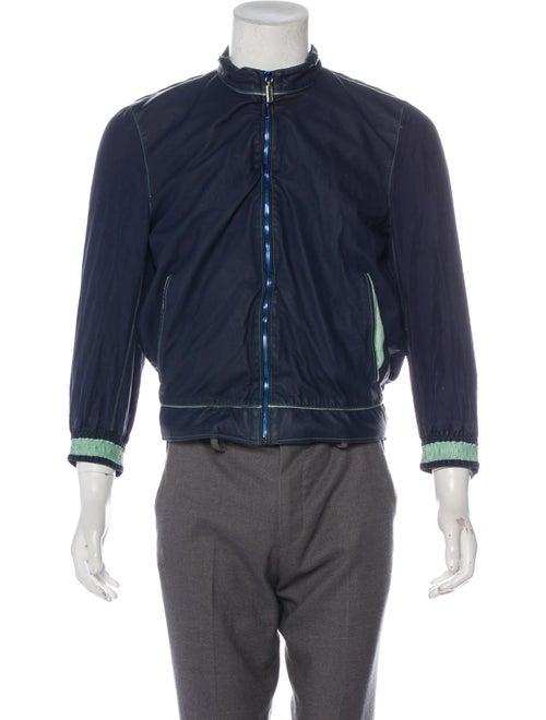 Zilli Snakeskin-Trimmed Leather Jacket navy