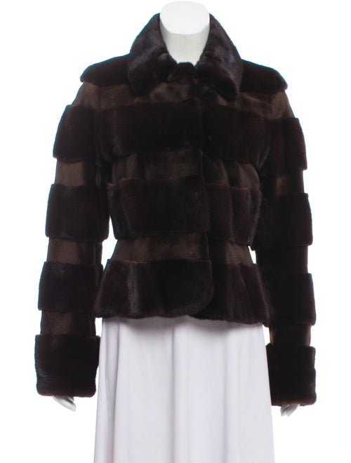 Zandra Rhodes Mink Fur Long Sleeve Jacket Brown
