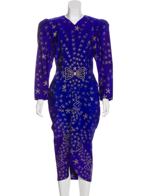 Zandra Rhodes Printed Midi Dress Indigo