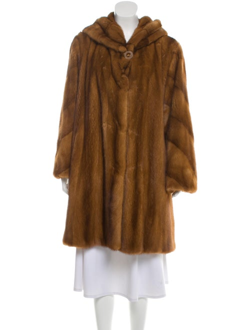 Zandra Rhodes Mink Fur Hooded Coat Brown