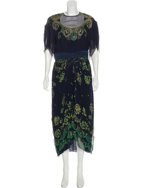 Zandra Rhodes Silk Printed Maxi Dress Navy