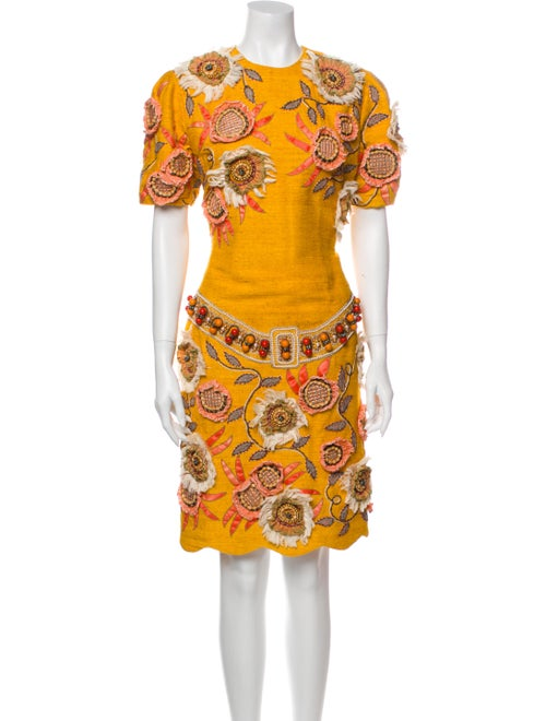 Zandra Rhodes Floral Print Knee-Length Dress Yello