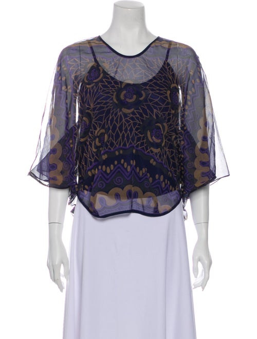 Zandra Rhodes Printed Scoop Neck Blouse Blue