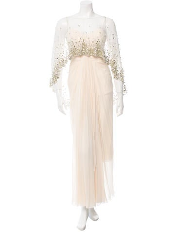 Embellished Caped Gown